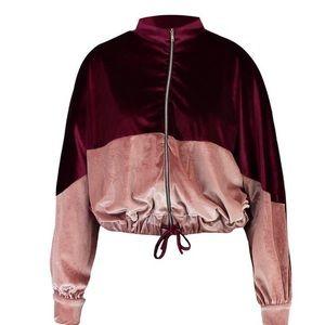 Jackets & Blazers - Plus Velvet Colour Block Bomber Jacket